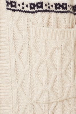 With wool/alpaca: Chunky knit Christmas cardigan, LIGHT BEIGE 5, detail