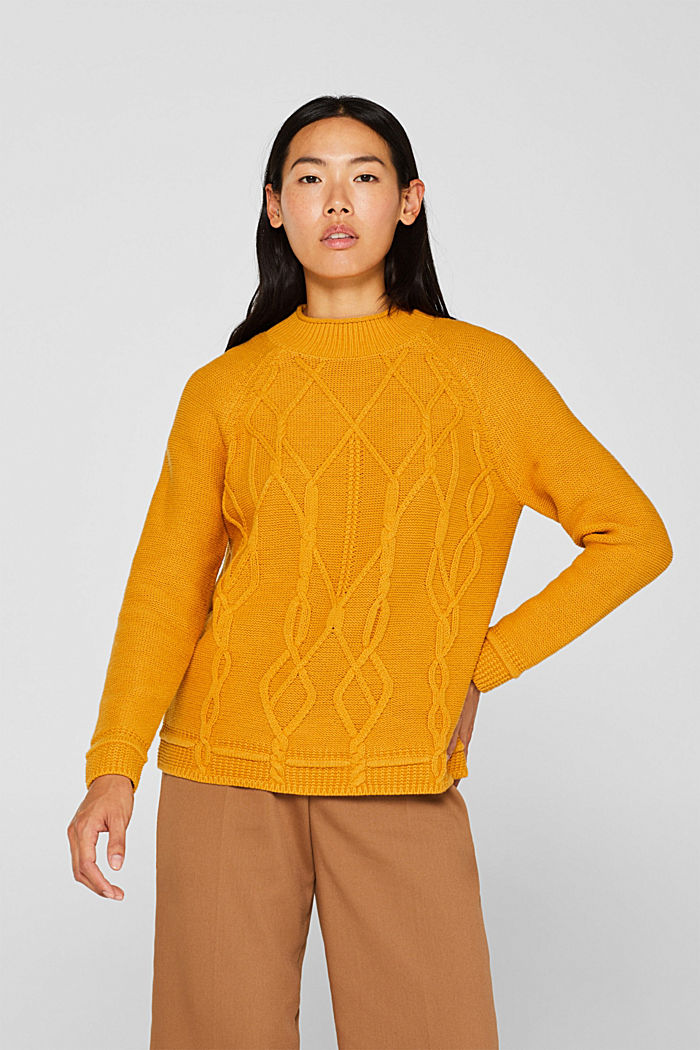Cable knit jumper, HONEY YELLOW, detail image number 0