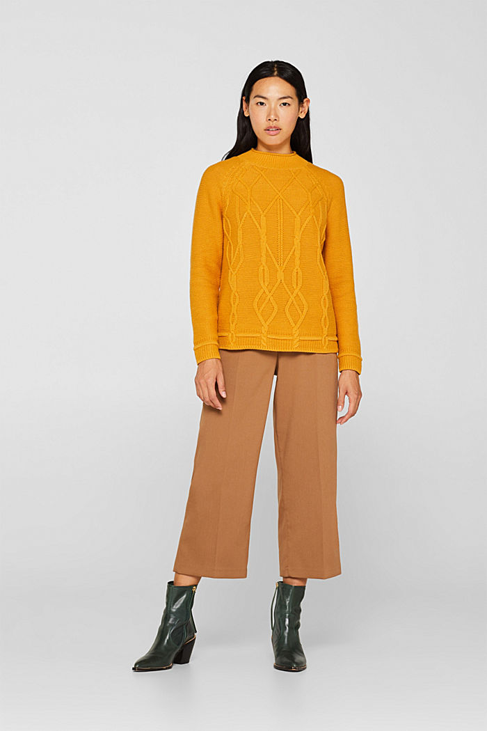 Cable knit jumper, HONEY YELLOW, detail image number 1