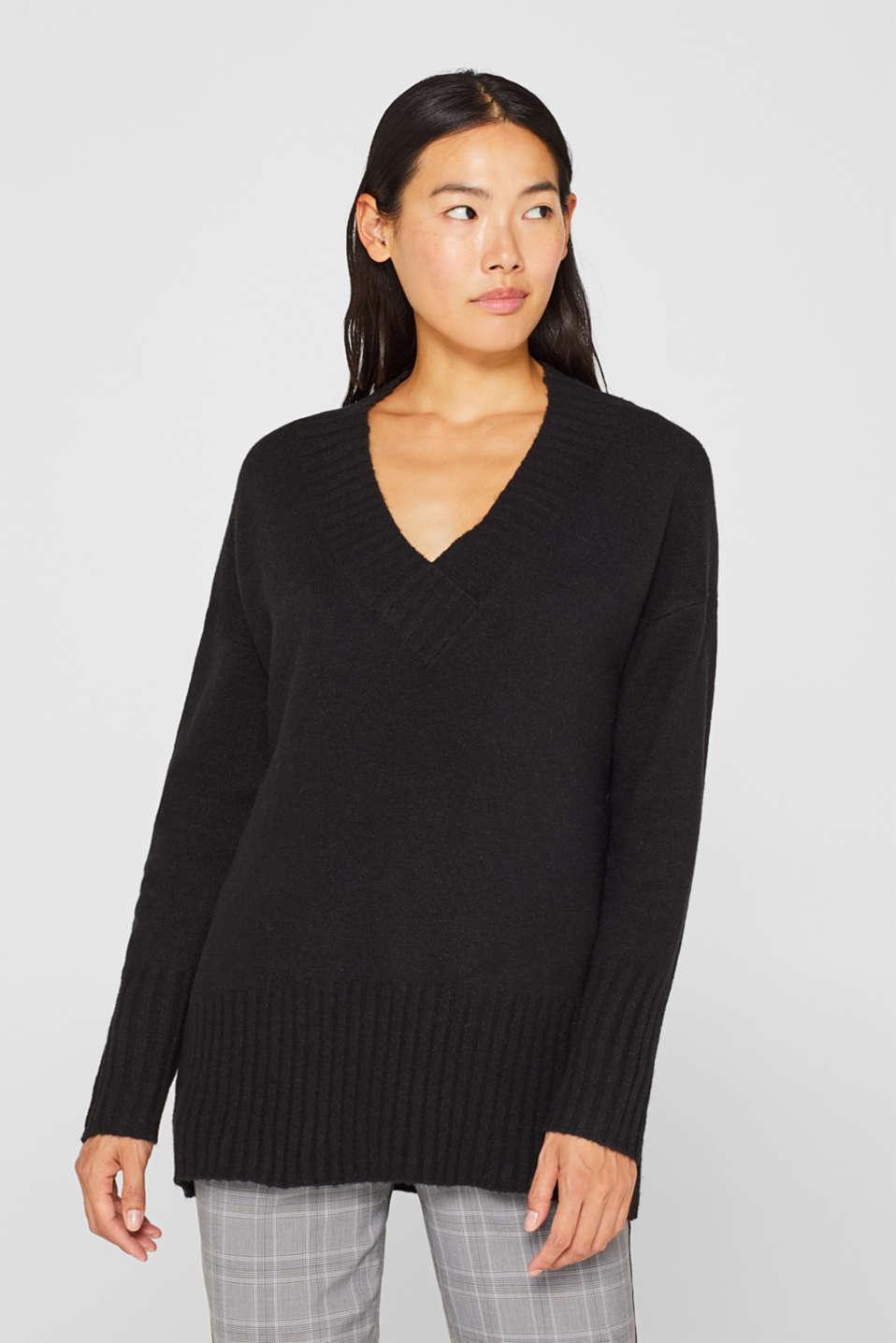 Wool/alpaca blend: V-neck jumper, BLACK, detail image number 0