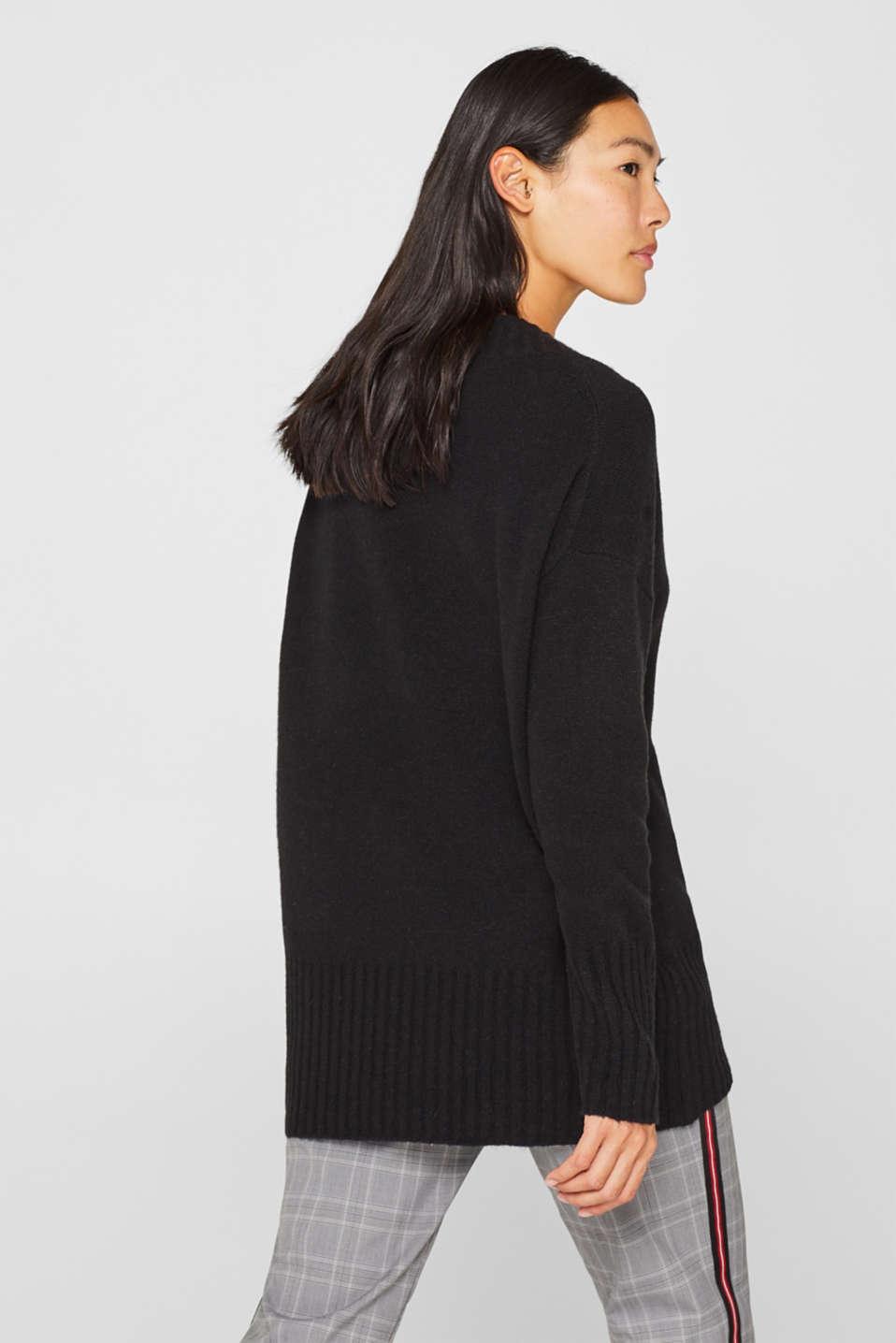 Wool/alpaca blend: V-neck jumper, BLACK, detail image number 3