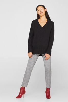 Wool/alpaca blend: V-neck jumper, BLACK, detail