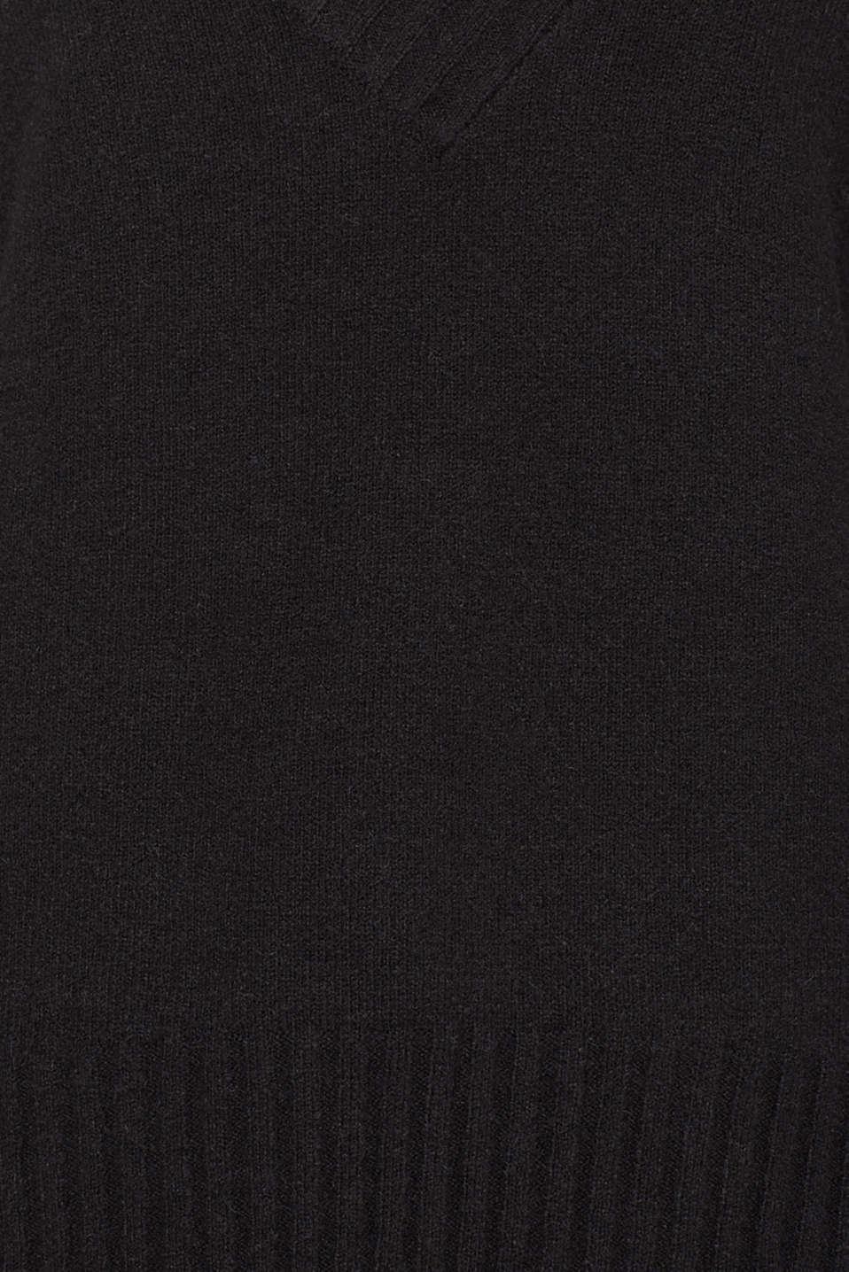 Wool/alpaca blend: V-neck jumper, BLACK, detail image number 4