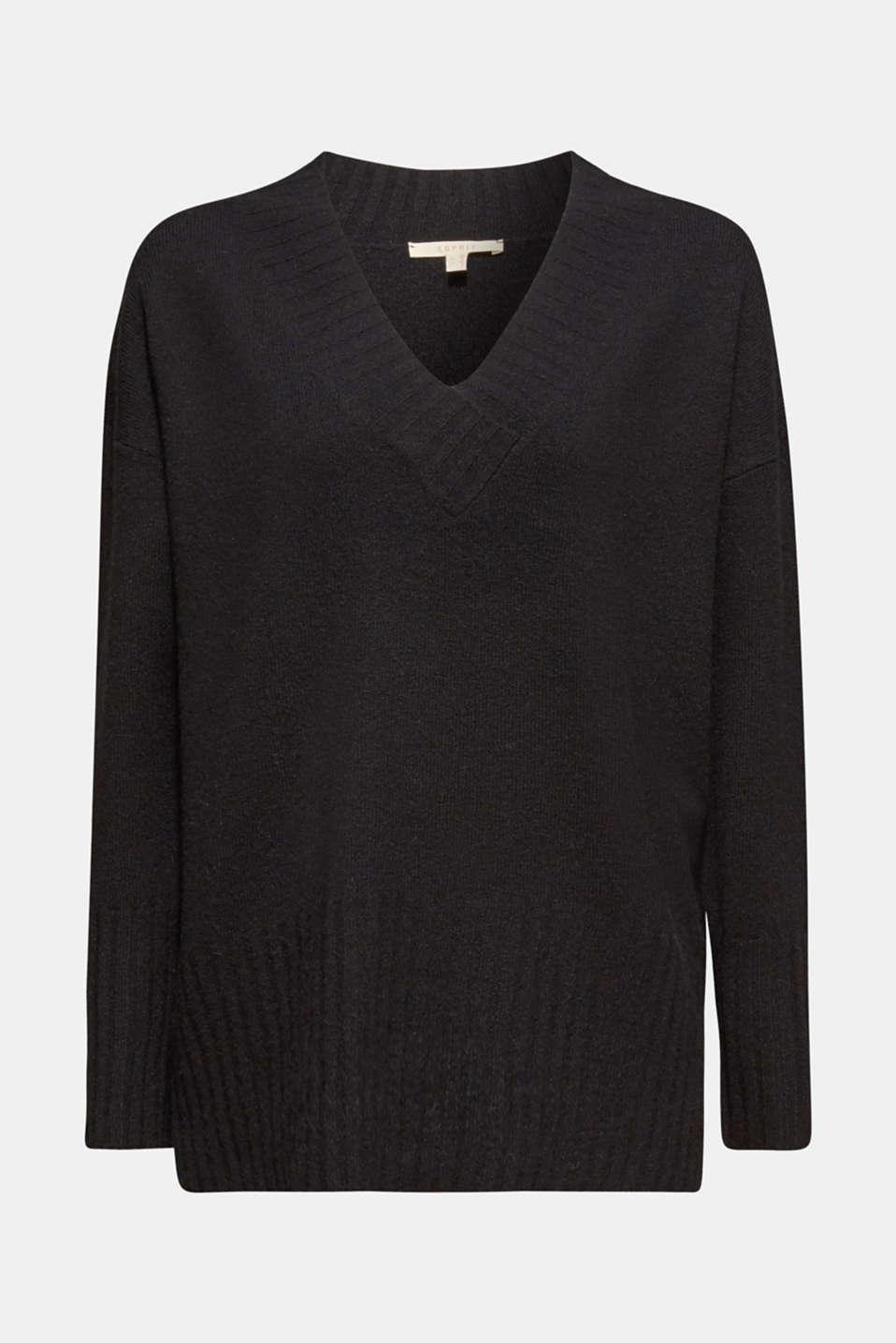 Wool/alpaca blend: V-neck jumper, BLACK, detail image number 5