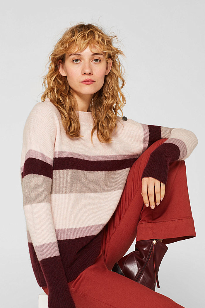 With wool: striped jumper, MAUVE, detail image number 0