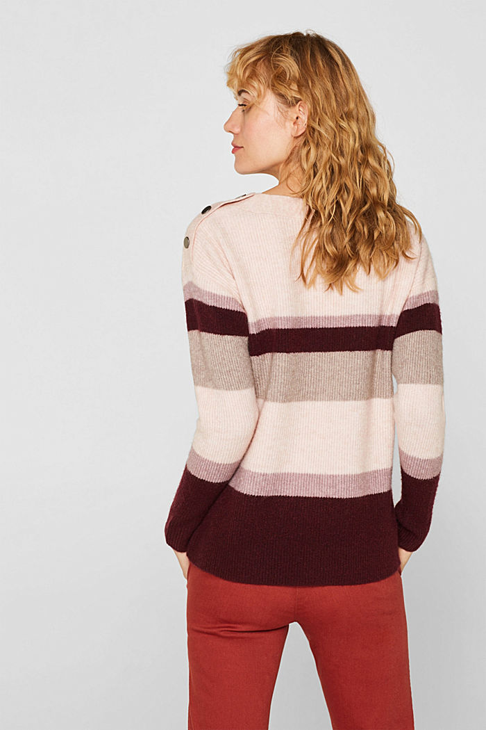 With wool: striped jumper, MAUVE, detail image number 3