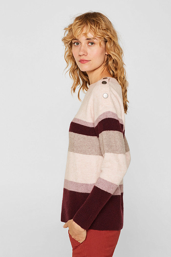 With wool: striped jumper, MAUVE, detail image number 5