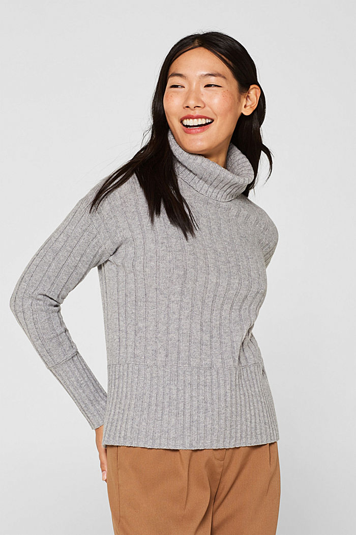 Ribbed jumper containing cashmere, MEDIUM GREY, detail image number 0