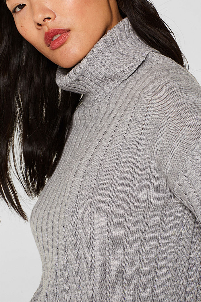 Ribbed jumper containing cashmere, MEDIUM GREY, detail image number 2