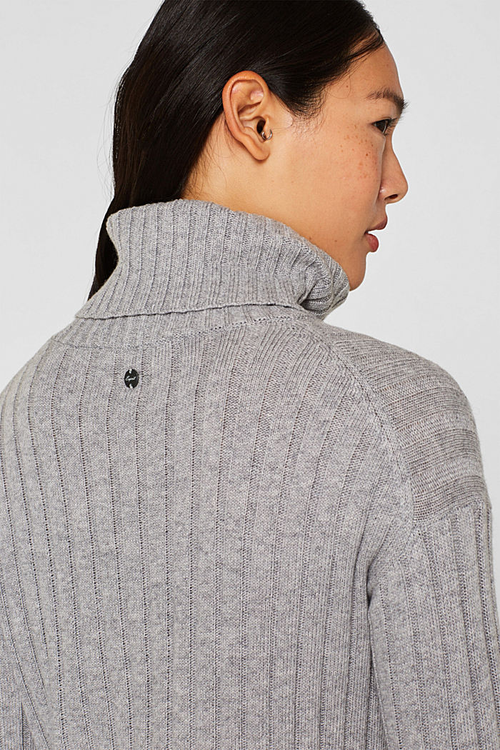 Ribbed jumper containing cashmere, MEDIUM GREY, detail image number 5