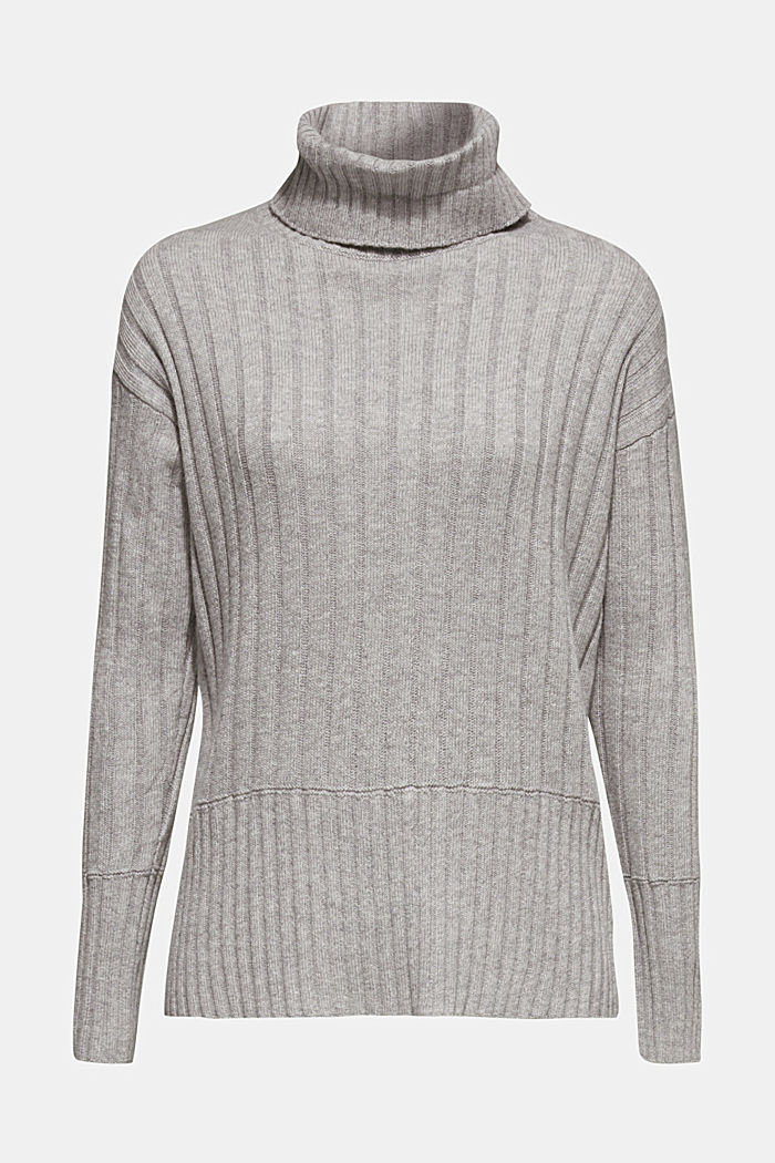 Ribbed jumper containing cashmere, MEDIUM GREY, detail image number 7