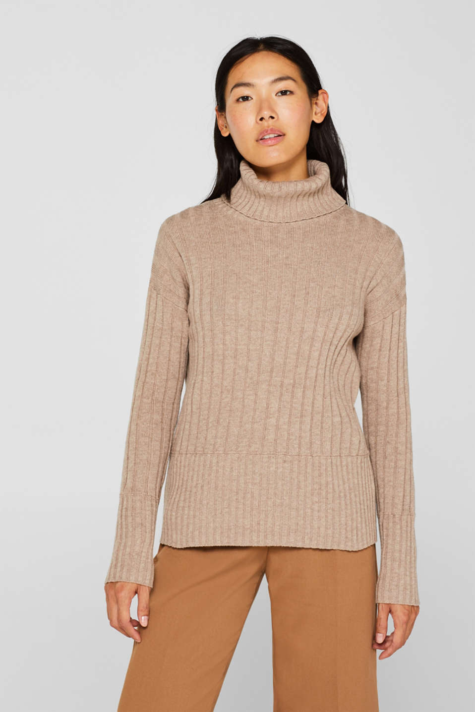 Ribbed jumper containing cashmere, TAUPE 5, detail image number 0