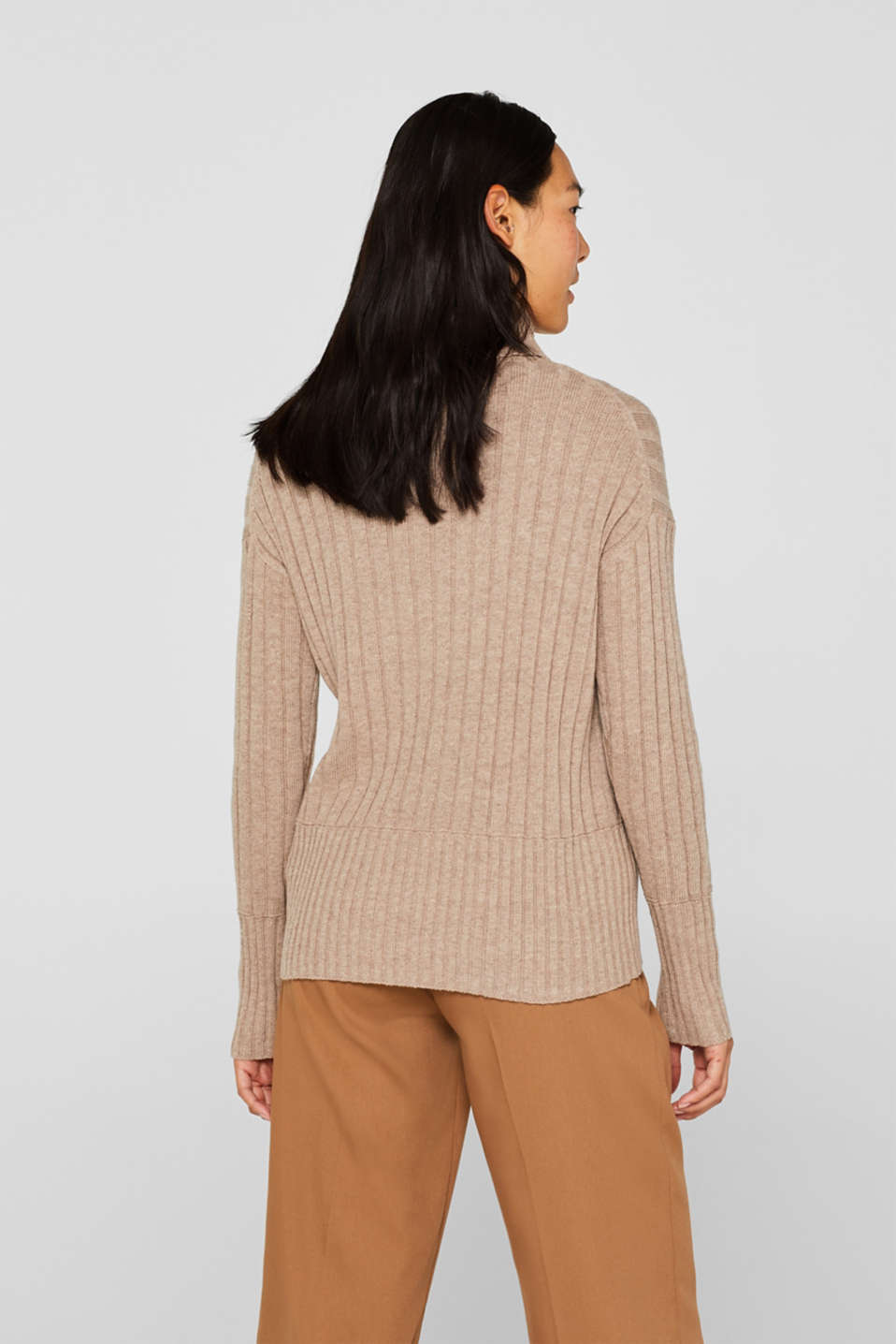 Ribbed jumper containing cashmere, TAUPE 5, detail image number 3