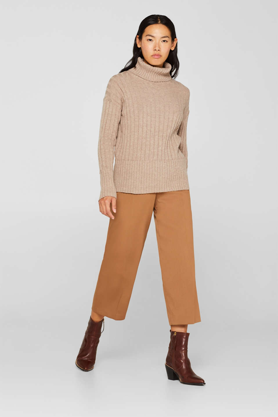 Ribbed jumper containing cashmere, TAUPE 5, detail image number 1