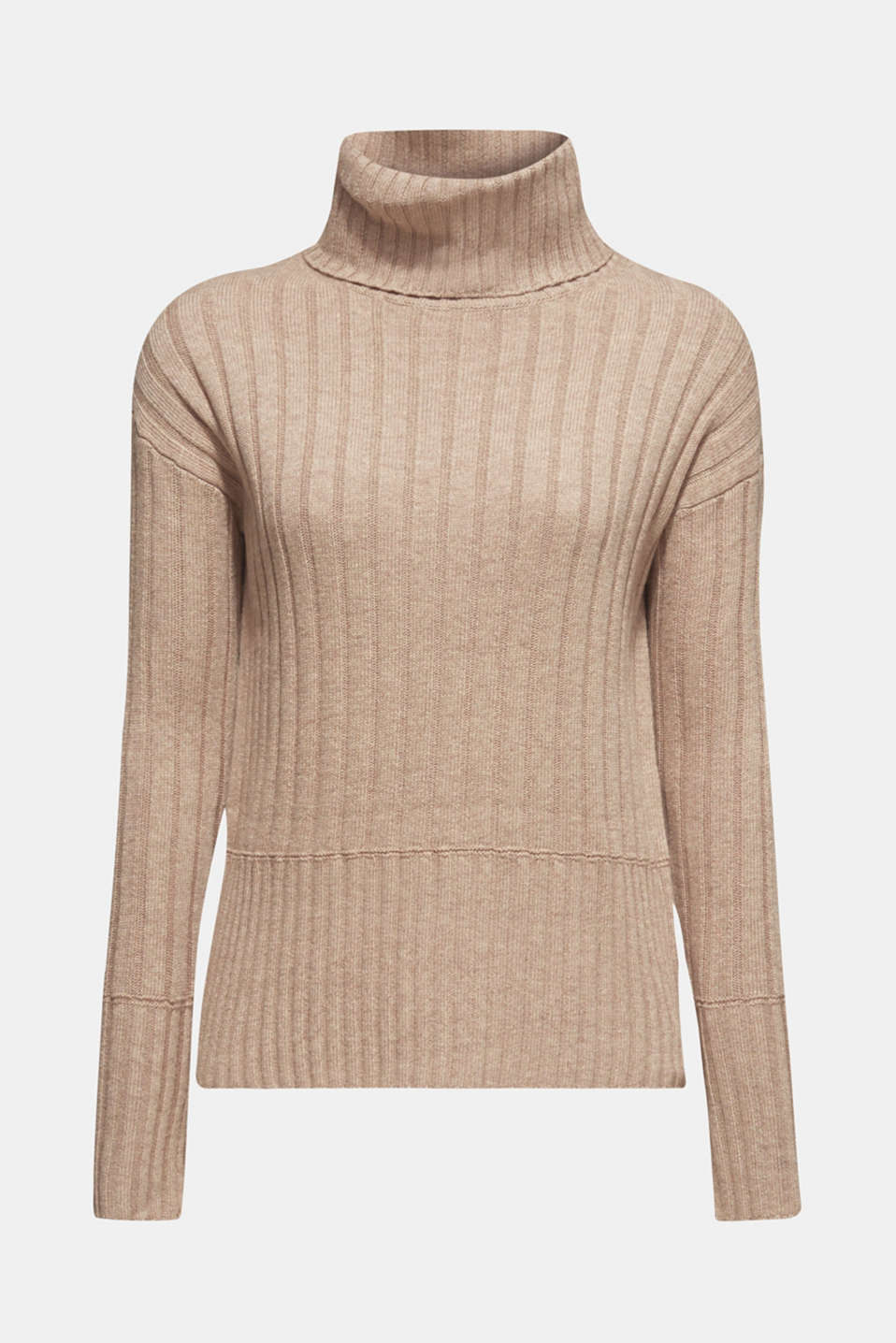 Ribbed jumper containing cashmere, TAUPE 5, detail image number 6