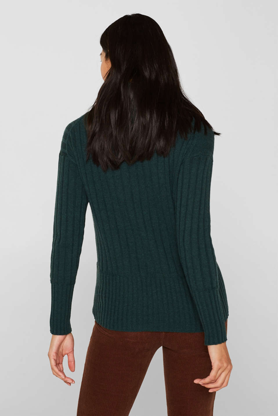 Ribbed jumper containing cashmere, DARK TEAL GREEN 5, detail image number 3