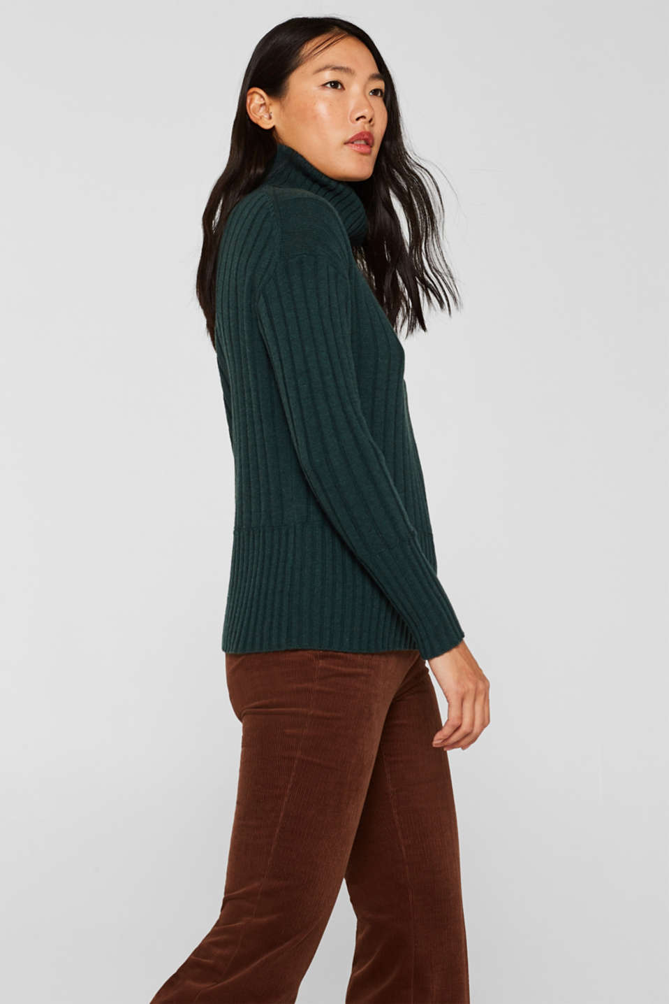 Ribbed jumper containing cashmere, DARK TEAL GREEN 5, detail image number 6