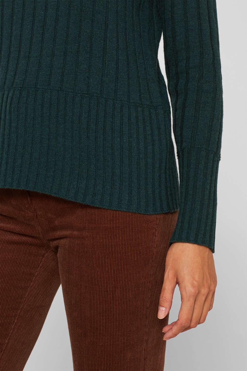 Ribbed jumper containing cashmere, DARK TEAL GREEN 5, detail image number 5
