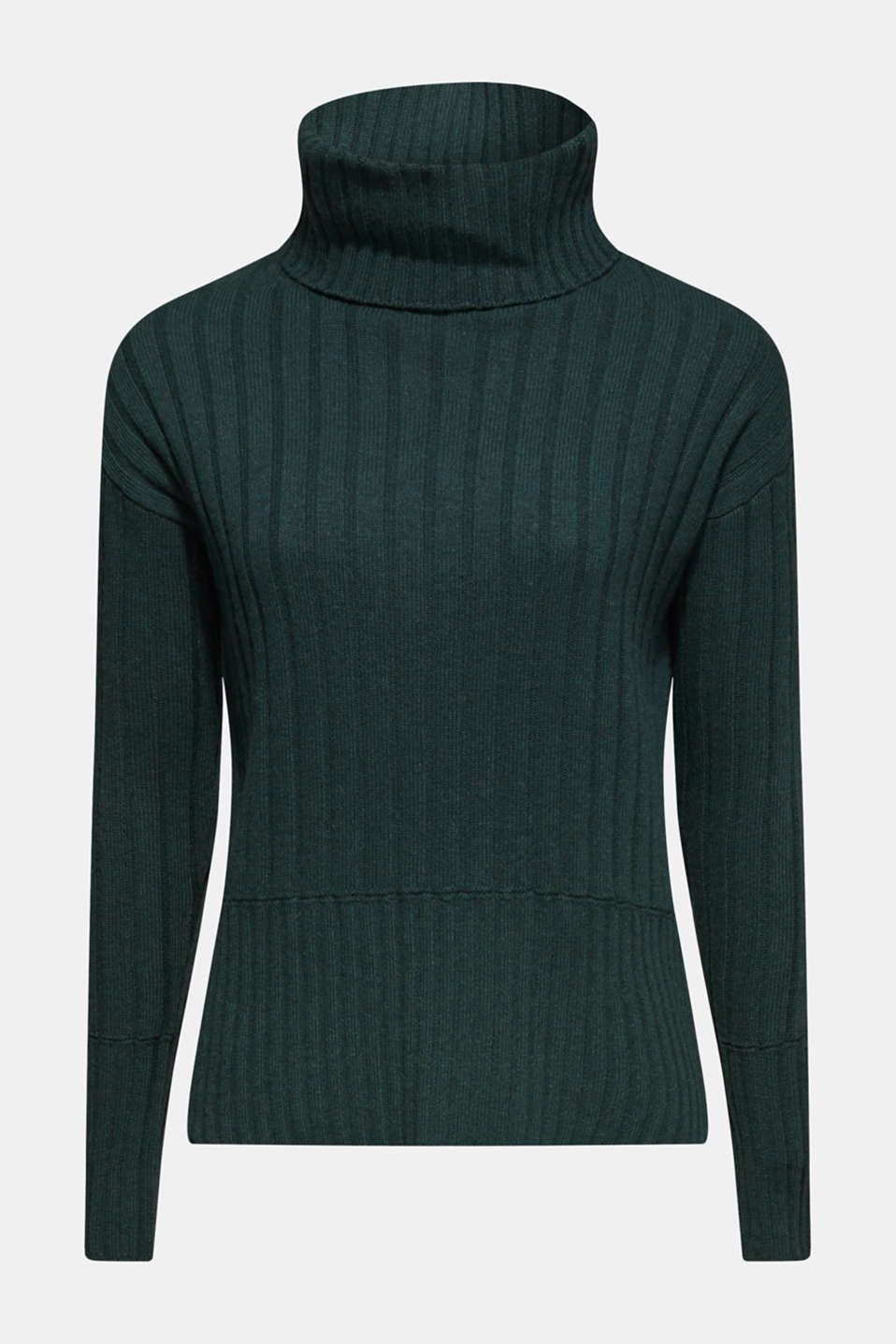 Ribbed jumper containing cashmere, DARK TEAL GREEN 5, detail image number 8
