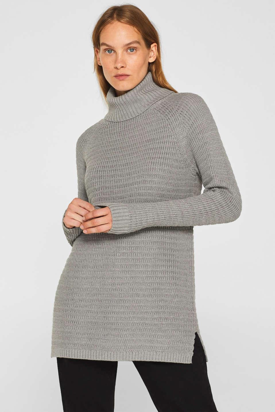 Textured polo neck jumper, MEDIUM GREY 5, detail image number 0