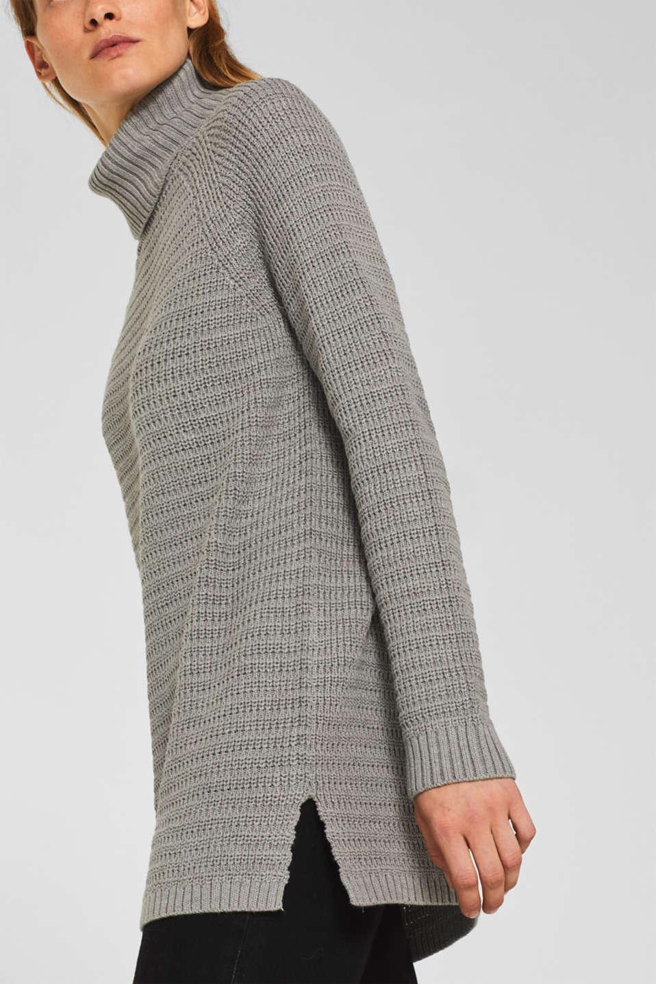 Textured polo neck jumper, MEDIUM GREY 5, detail image number 5