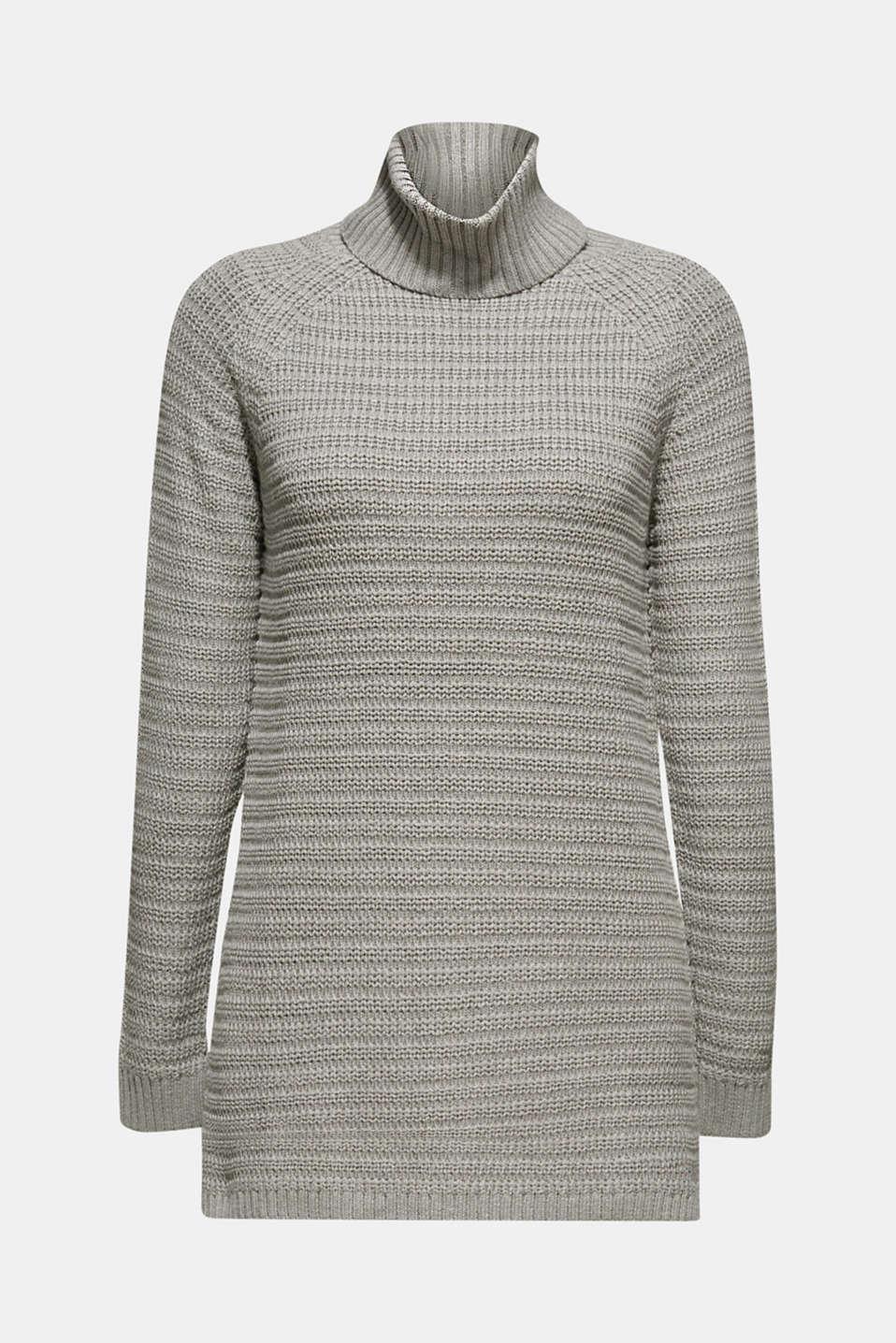 Textured polo neck jumper, MEDIUM GREY 5, detail image number 6