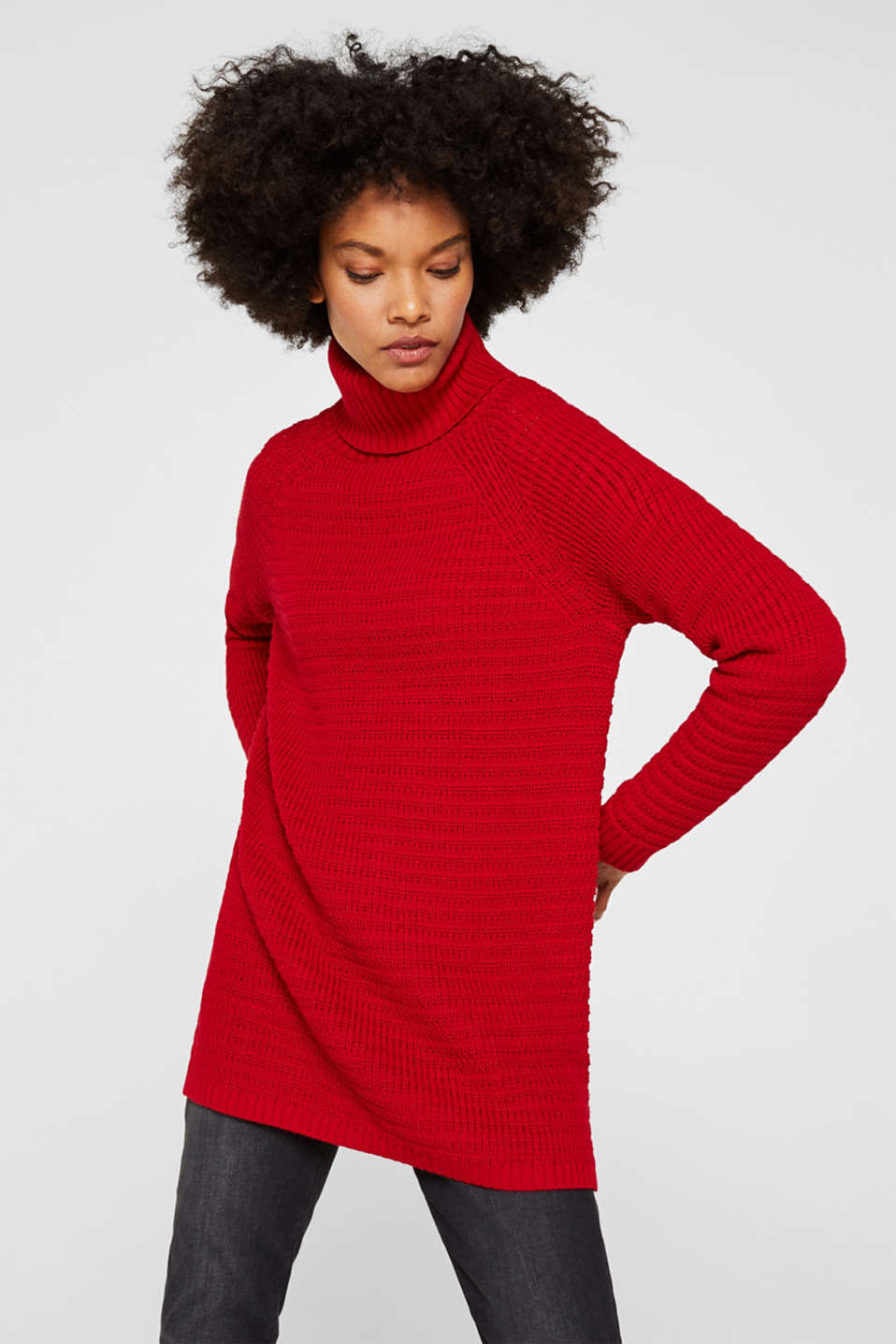 Esprit - Textured polo neck jumper