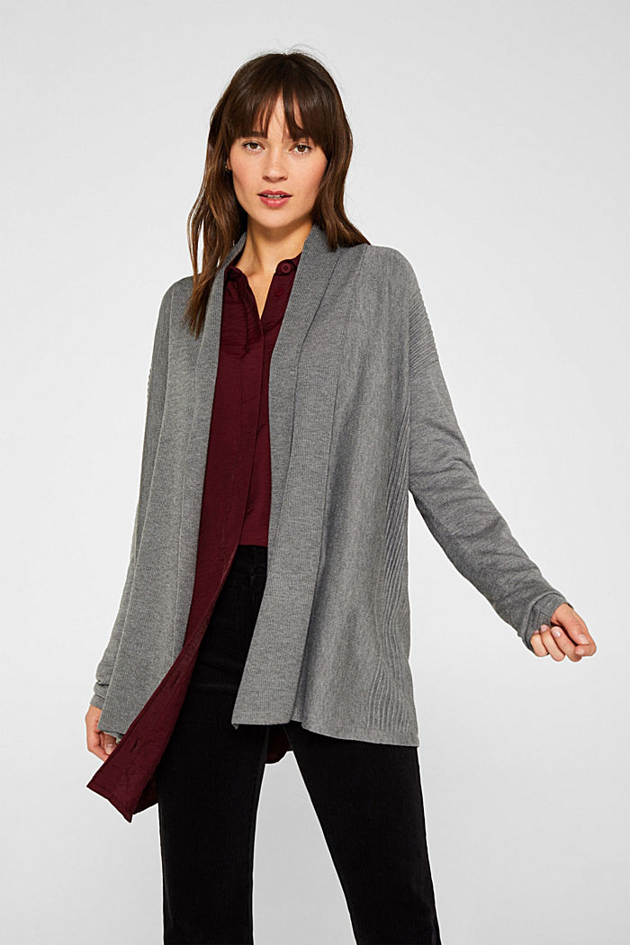 Open cardigan with a shawl collar, recycled, GUNMETAL, detail image number 0