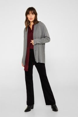 Open cardigan with a shawl collar, recycled, GUNMETAL 5, detail