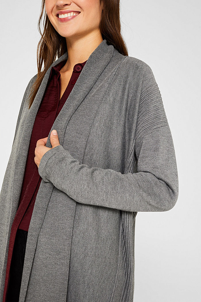Open cardigan with a shawl collar, recycled, GUNMETAL, detail image number 2
