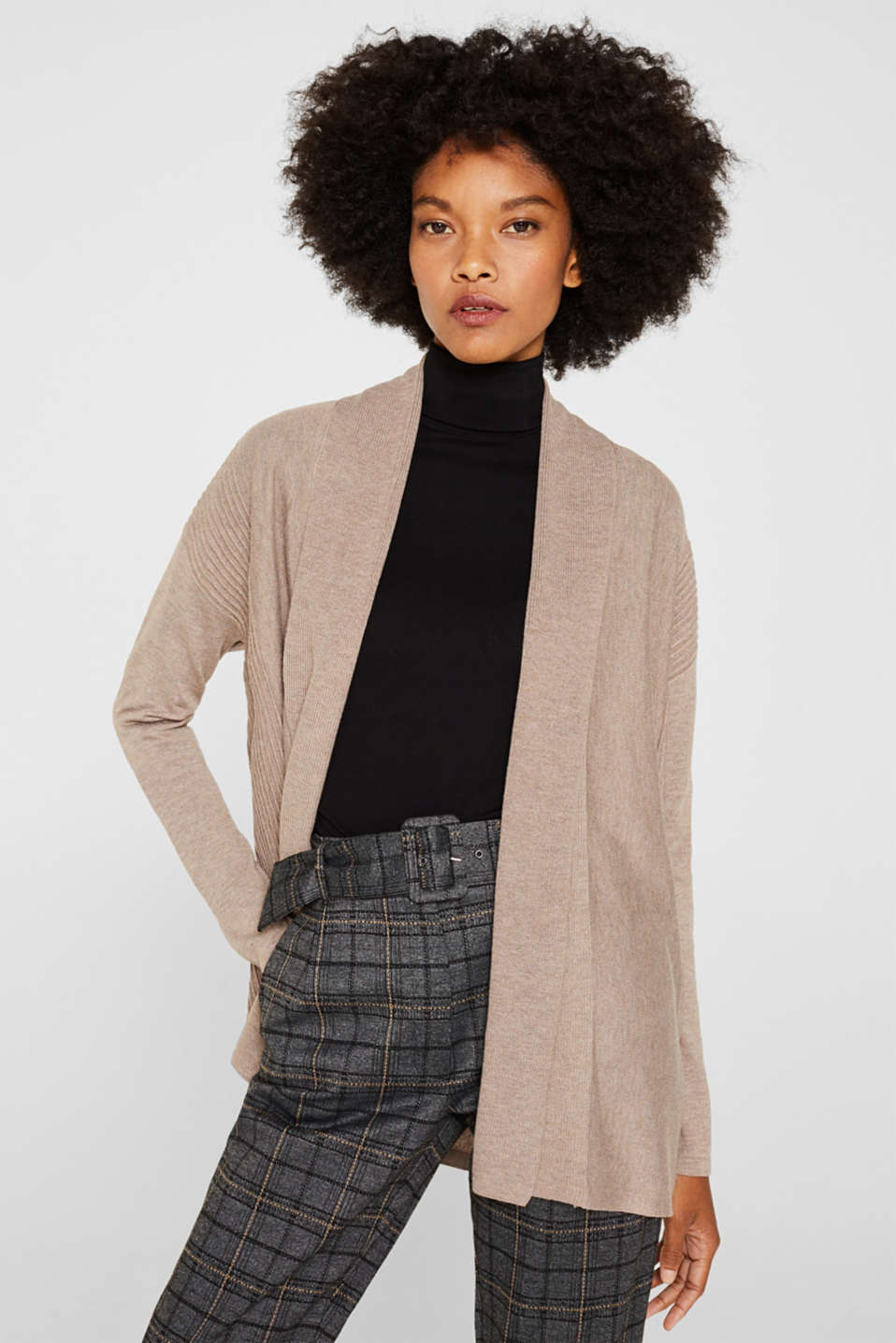Esprit - Open cardigan with a shawl collar, recycled