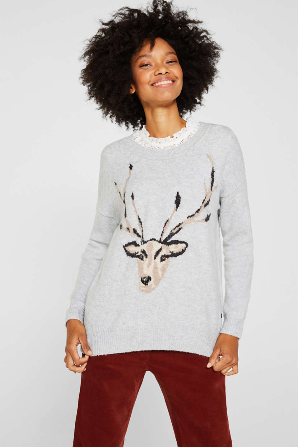 Esprit - With wool: Motif jumper with sequins