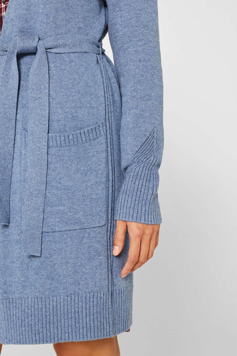 Wool blend: long cardigan with a belt, GREY BLUE 5, detail image number 2