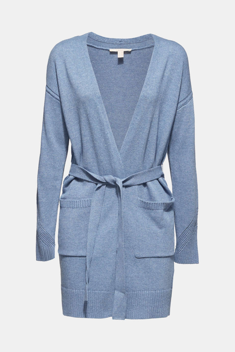Wool blend: long cardigan with a belt, GREY BLUE 5, detail image number 6