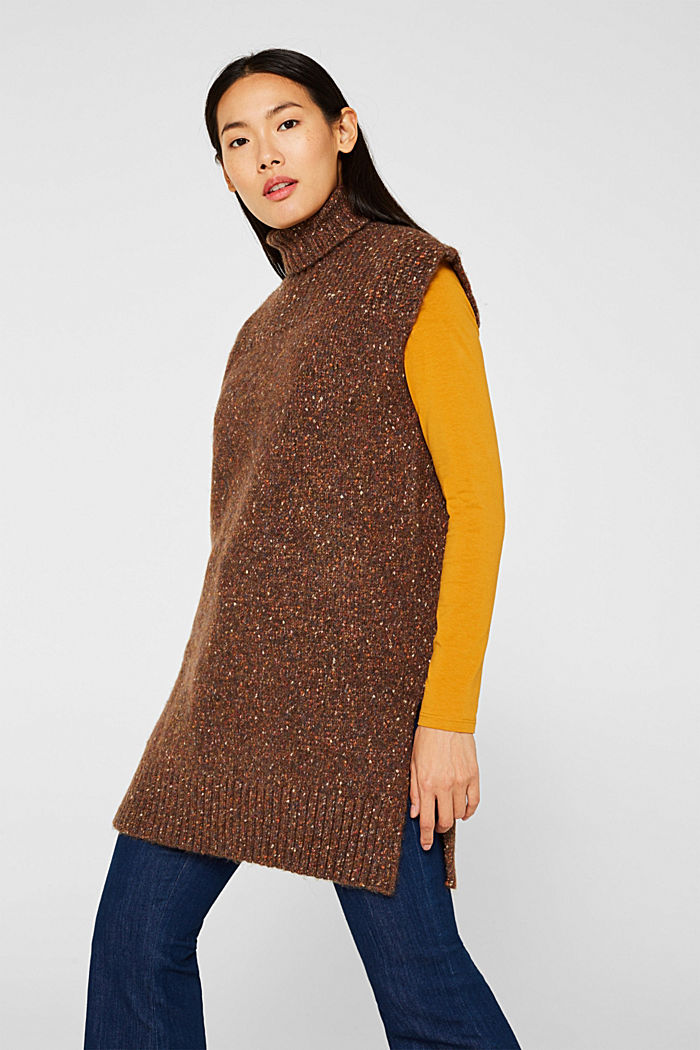 Long sleeveless jumper with a polo neck collar, TOFFEE, detail image number 0
