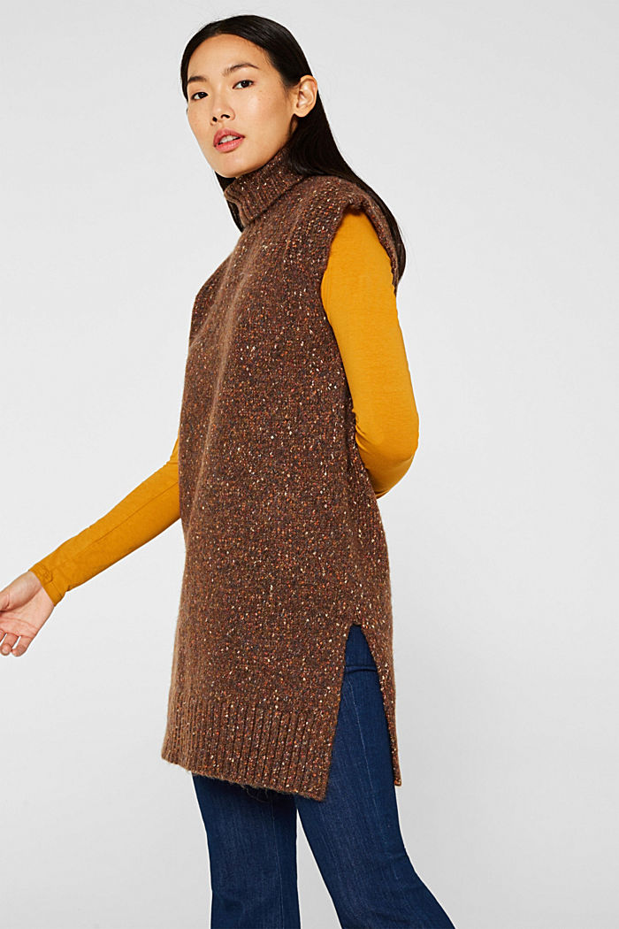Long sleeveless jumper with a polo neck collar, TOFFEE, detail image number 5