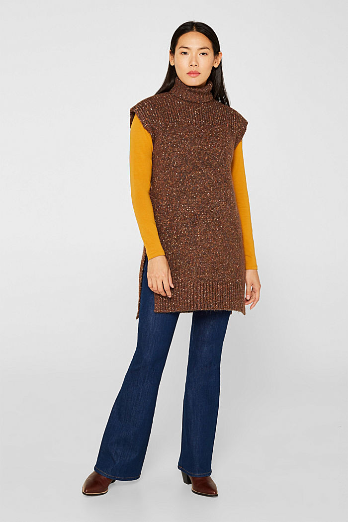 Long sleeveless jumper with a polo neck collar, TOFFEE, detail image number 1