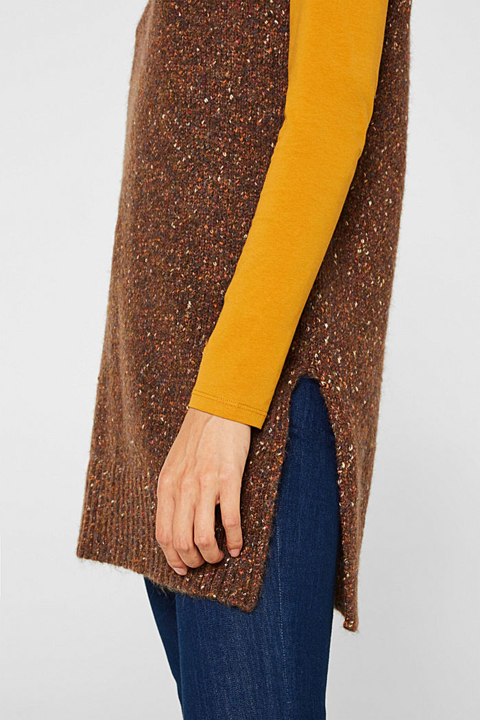 Long sleeveless jumper with a polo neck collar, TOFFEE, detail image number 2