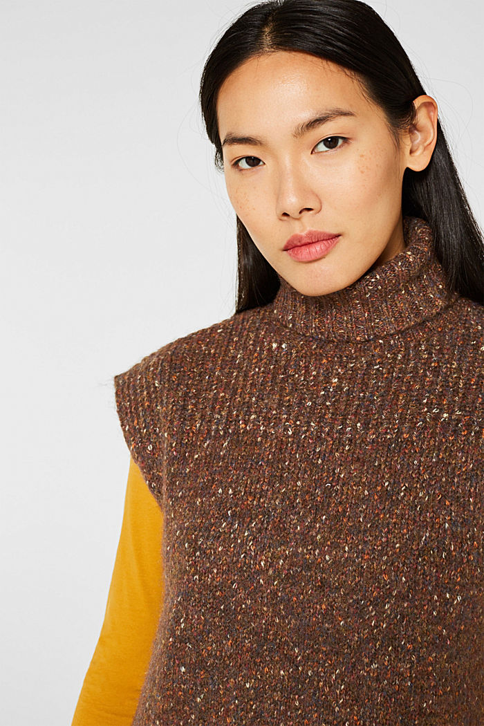 Long sleeveless jumper with a polo neck collar, TOFFEE, detail image number 6