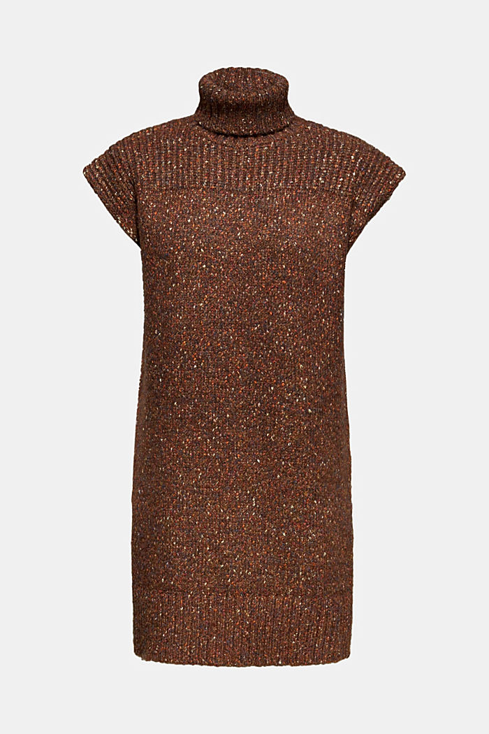 Long sleeveless jumper with a polo neck collar, TOFFEE, detail image number 7
