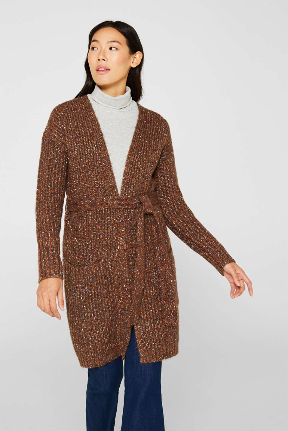 Esprit - Multi-colour chunky-knit cardigan with a belt