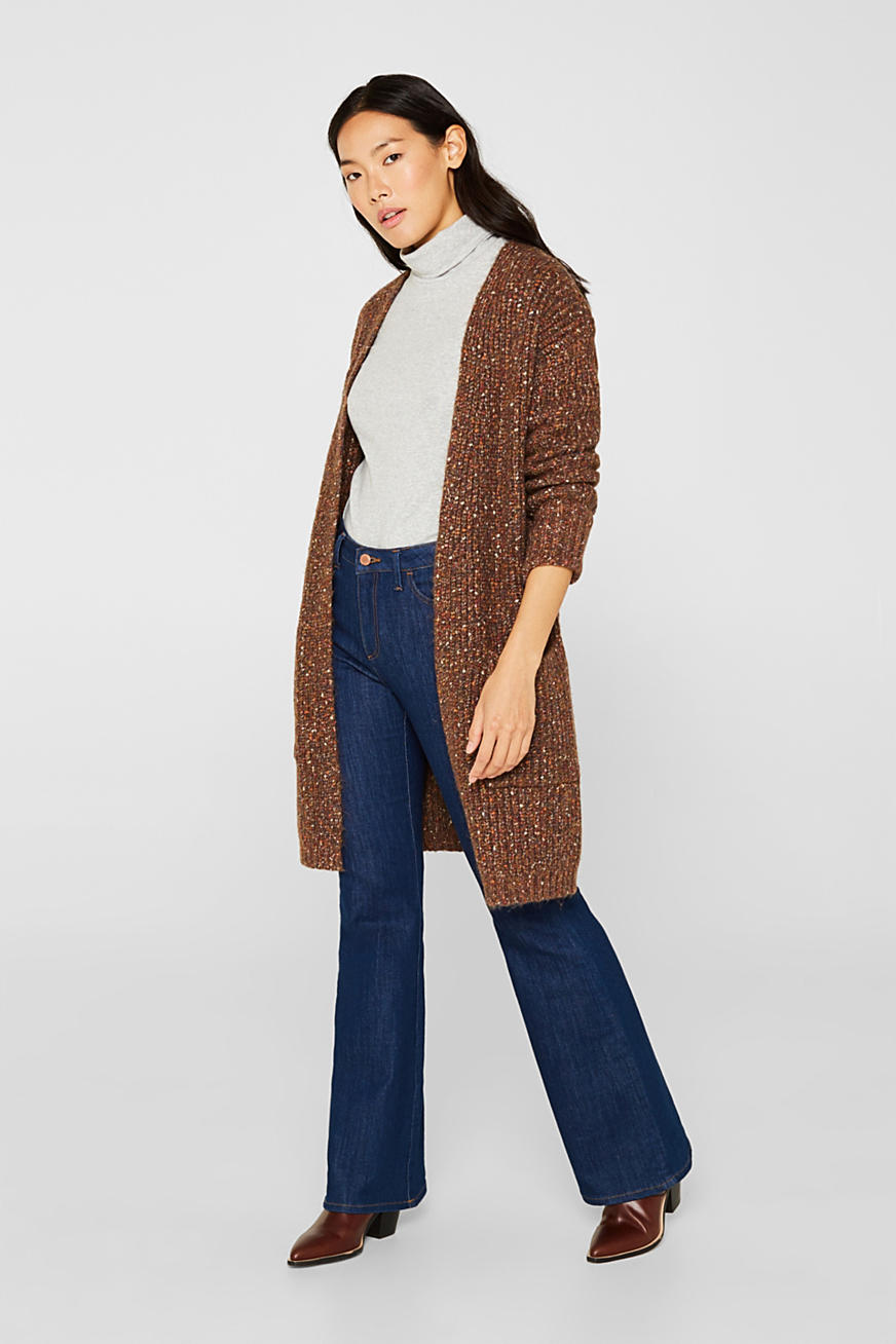 Multi-colour chunky-knit cardigan with a belt