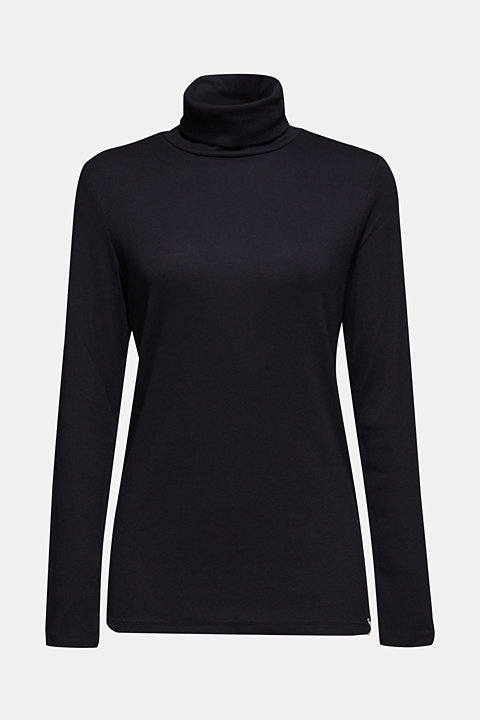 Stretch long sleeve polo neck top