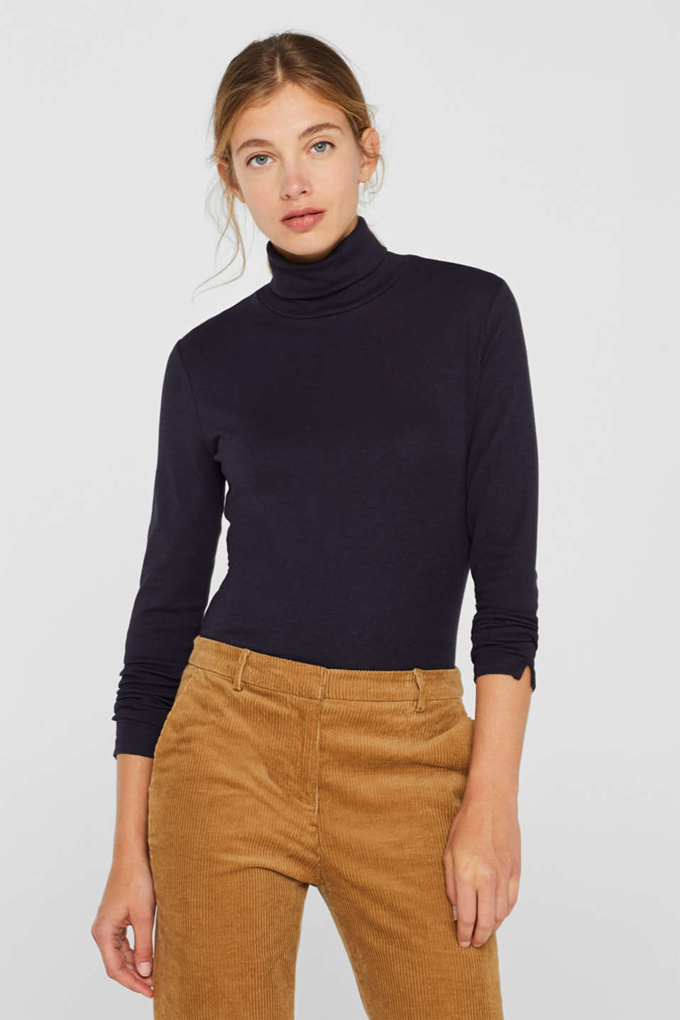 Stretch long sleeve polo neck top, NAVY, detail image number 0
