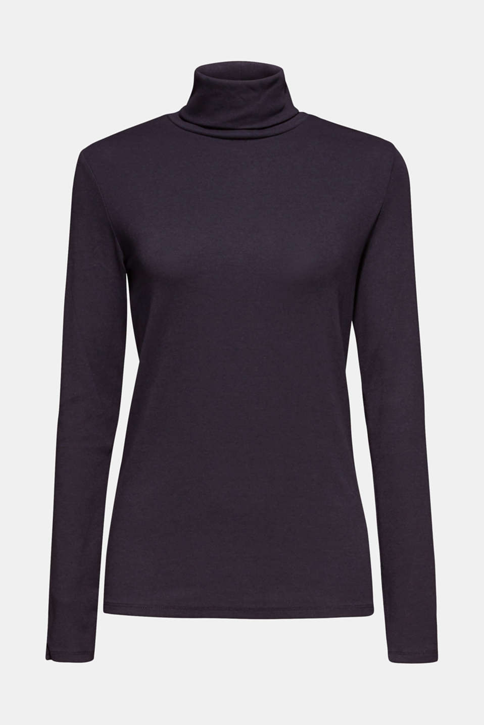 Stretch long sleeve polo neck top, NAVY, detail image number 7