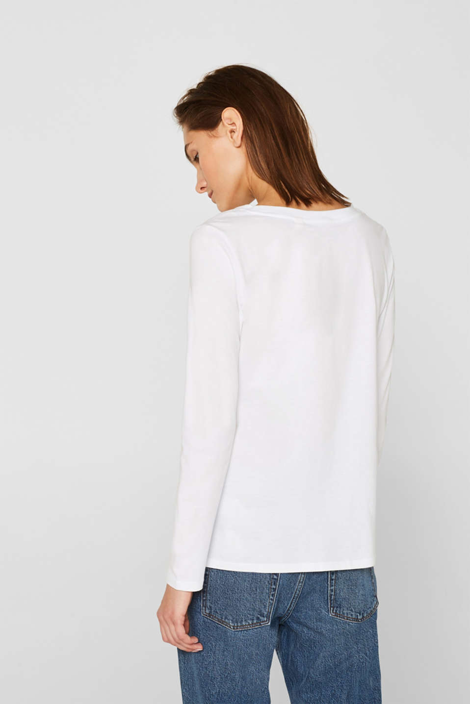 Long sleeve top in a basic design, 100% cotton, OFF WHITE, detail image number 3
