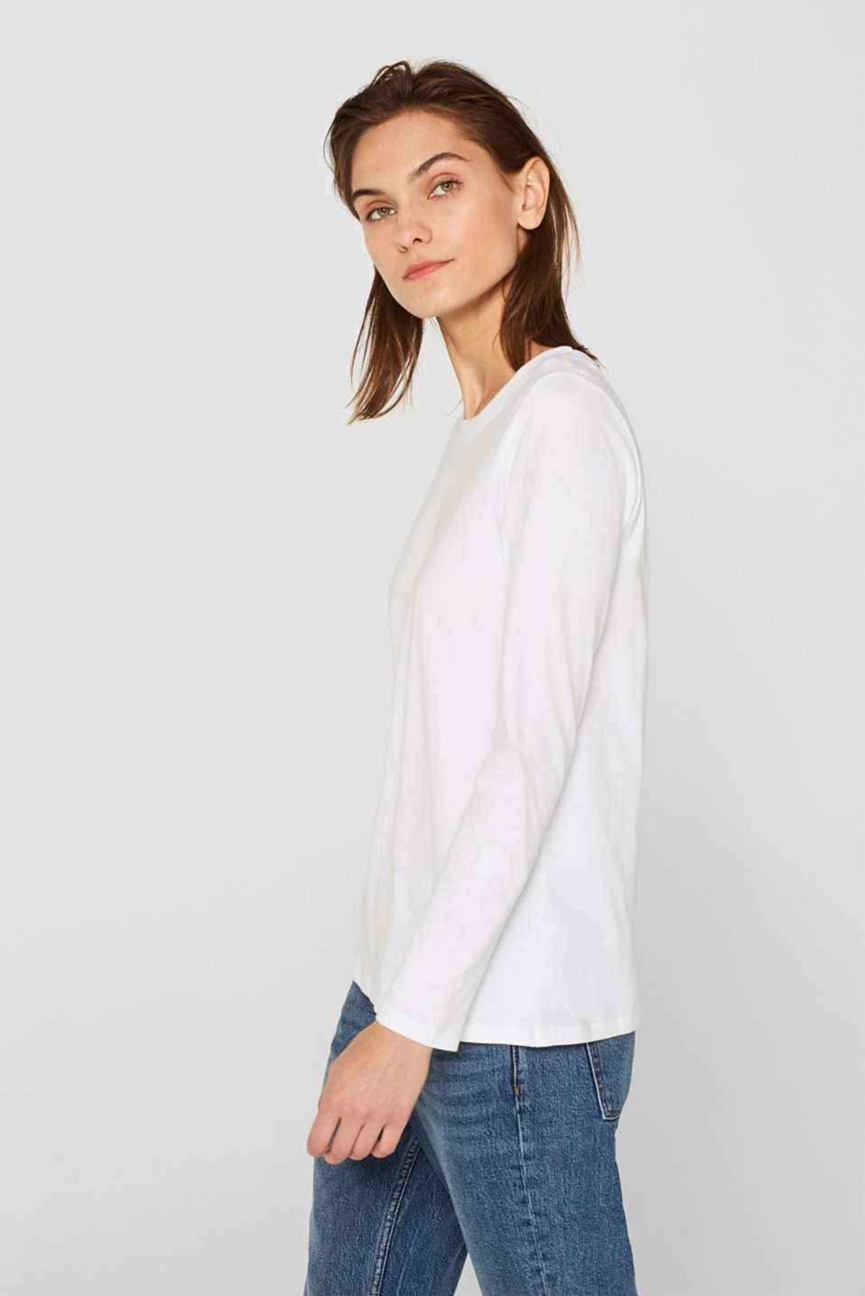 Long sleeve top in a basic design, 100% cotton, OFF WHITE, detail image number 5