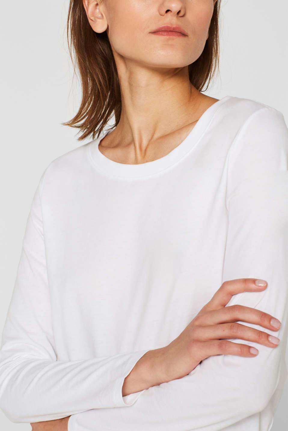 Long sleeve top in a basic design, 100% cotton, OFF WHITE, detail image number 2