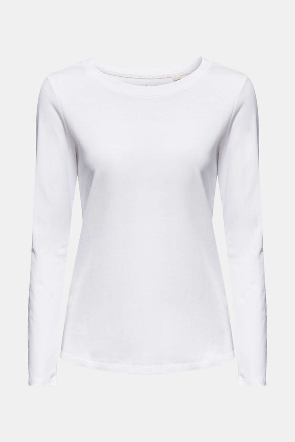 Long sleeve top in a basic design, 100% cotton, OFF WHITE, detail image number 7