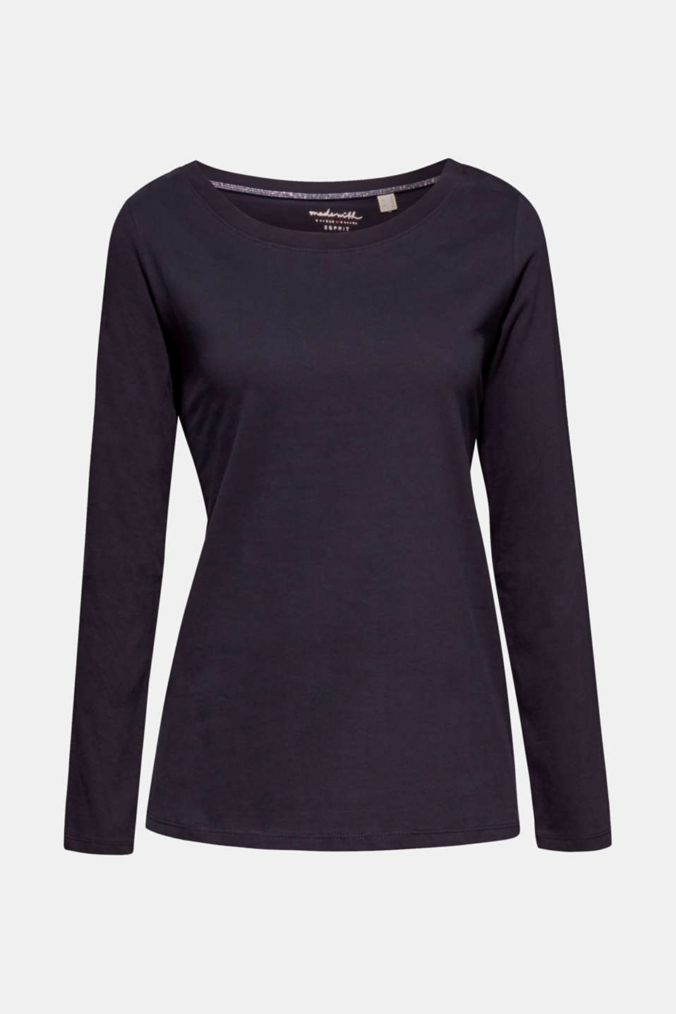 Long sleeve top in a basic design, 100% cotton, NAVY, detail image number 5